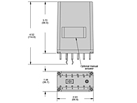 255 Series - Industrial Latching Relays - Dimensional Picture
