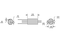 RR Series - Axial Lead, Shielded Reed Relays - Dimensional Picture