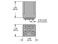 292 Series - Low Coil Power Sensitive Relays - Square Base - Dimensional Picture